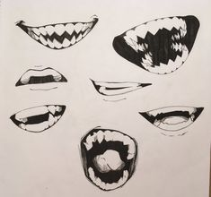 Teeth Drawing, Drawing Heads, Drawing Base, Figure Drawing Reference, Art Reference Poses, Boca Anime, Art Drawings Sketches, Dark Drawings, Drawing Expressions