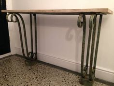 Wrought iron console table Verdigris finish Price includes marble, stone or glass top French Circa 1930s/1940s