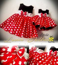 Little Girl Dresses, Girls Dresses, Dress Anak, Girls Boutique, Sewing For Kids, My Baby Girl, Baby Dress, Minnie Mouse, Doll Clothes