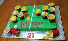 21st beer pong birthday cake