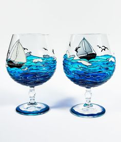 Hand Painted Wine Glasses Ocean Painted Glasses Set by Vitraaze, $45.00 inspiration for art page