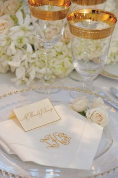 A close-up of a place setting at Ivanka Trump's wedding reception.