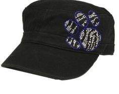 Rhinestone Leopard Fleur Women's Cadet Cap by shopiadori on Etsy