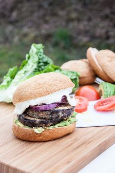 Healthy Eggplant Burger Recipe with a easy Vegan Mayo Recipe. Eggplant Burger is coated with chia seeds and coconut flour for a gluten-free & vegan recipe