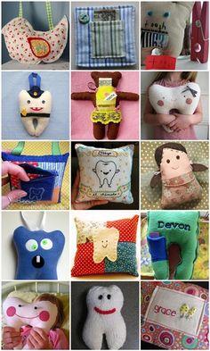 Links to over a dozen ideas for tooth fairy pillows