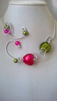 Statement necklace  - Open collar necklace - Wedding jewelry - Bridesmaids -  Unique jewelry, Bijoux de fantaisie, Alu wire, Metal wire