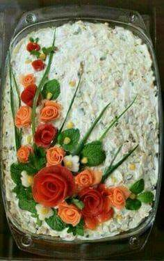 Decorations in spectacular and delicious Geric Food Carving Ideas Çorba Tarifleri Cute Food, Good Food, Food Carving, Food Garnishes, Garnishing, Food Decoration, Food Platters, Food Crafts, Fruit And Veg