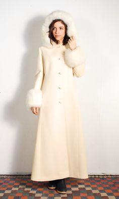 1960s Cream & White Fox Fur Wool Floor Length Coat // by UXCVintage
