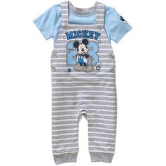 Mickey Mouse Newborn Baby Overalls and T-Shirt Outfit Set, Newborn Boy's, Size: 3 - 6 Months, Multicolor