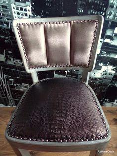 Alte antike Stuhl ist renoviert antike Metallic-Lackierung Polster: Textilleder…