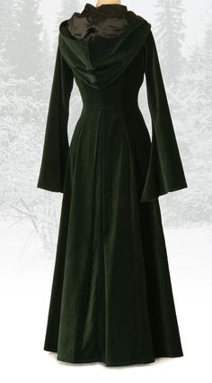 Beltane Coat - forest green velvet with deep hood