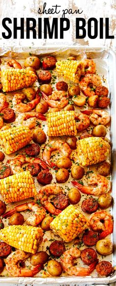 Easy Shrimp Boil recipe made hassle-free and mess-free using a single sheet pan! Its the BEST and easiest way to make shrimp boil at home! sheetpanmeals via Easy Shrimp Boil Recipe, How To Cook Shrimp, Easy Shrimp Recipes, Yummy Recipes, Easy Cheap Dinner Recipes, Quick Recipes, Recipes Dinner, Fish Recipes, Seafood Recipes