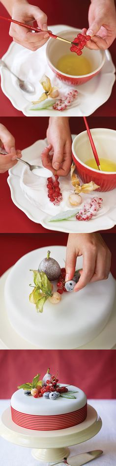 How to make a crystallised fruit and berries Christmas cake. This decorating idea is simplicity itself and creates a stunning Christmas cake in double-quick time.