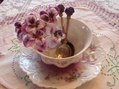 Very old Austrian teacup in pink & lavender   Flickr - Photo Sharing!