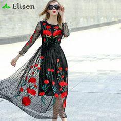 Runway Dresses 2016 New Fashion Runway Long Sleeve Sexy Mesh Carnation Embroidery Slim Black Long Dress