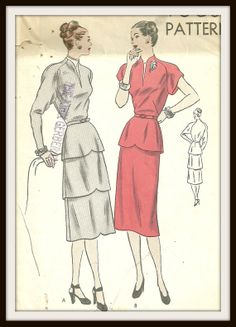 Vogue pattern 5878, dress with peplum, early 1950s.