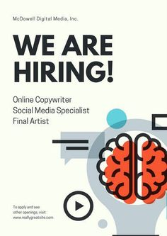 Ivory Illustrated Brain Hiring Poster -- Flyer Examples From Venngage Poster Design Software, Free Graphic Design Software, Graphic Design Posters, Poster Designs, Illustration Design Graphique, Brain Illustration, Flugblatt Design, Design Ideas, Flyer Design Inspiration