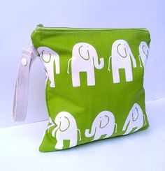 Wet Bag  Elephants in a chartreuse green by BarnofColors on Etsy, $18.00