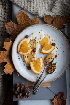 Autumn breakfast. Healthy breakfast. Orange.
