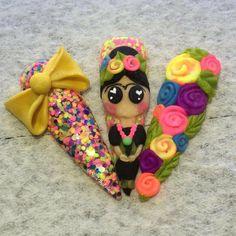 Frida Kahlo using Handmade & Handmade - Best Nail Art 3d Acrylic Nails, Stiletto Nail Art, 3d Nails, Love Nails, Pastel Nails, Sexy Nails, Funky Nail Art, 3d Nail Art, Cool Nail Art