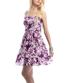Take a look at this Purple Flower Strapless Dress by Classique on #zulily today!