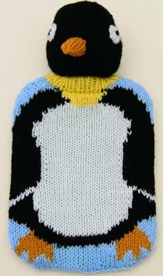 Ravelry: Penguin hot-water bottle cover pattern by Linda Moorhouse Intarsia Knitting, Knitting Paterns, Knit Patterns, Free Knitting, Knitting Charts, Knitting Ideas, Crochet Hat With Brim, Water Bottle Covers, Cute Toys