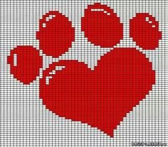 New Embroidery Dog Patterns Punto Croce 48 Ideas Cross Stitch Heart, Modern Cross Stitch, Cross Stitch Designs, Cross Stitch Patterns, Loom Beading, Beading Patterns, Embroidery Patterns, Crochet Patterns, Cross Stitching