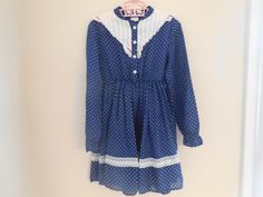 Size 4 5/6 Vintage Girls Retro Lace  Blue Polka Dot by LittleMarin
