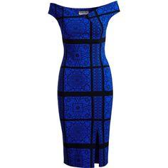 La Petite Robe Di Chiara Boni Irene Geometric Off-the-Shoulder... ($750) ❤ liked on Polyvore featuring dresses, blue dress, sheath dresses, off shoulder cocktail dress, sheath cocktail dress and off the shoulder dress