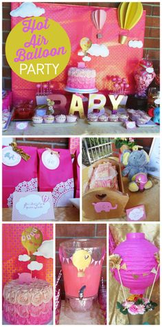 A stunning baby shower with a hot pink  gold color scheme and a hot air balloons and baby elephants theme!  See more party ideas at CatchMyParty.com!