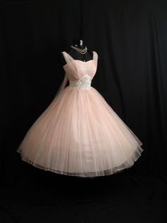 Vintage 1950's 50s Bombshell PINK Beaded Ruched Chiffon Circle Skirt Party Prom Wedding Dress. $399.99, via Etsy.