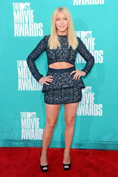 Shown in this photo is professional ballroom dancer, singer/songwriter and actress, Julianne Hough at the MTV Movie Awards. She is wearing a Sally LaPointe dress that represents the new trend of cut-outs. Cut-outs in various garments shows how the shifting of erogenous zones has occurred over time in fashion. In the past couple of years the trend has moved to revealing more leg, stomach and lower back, instead of bust. Sami Gottschalk.
