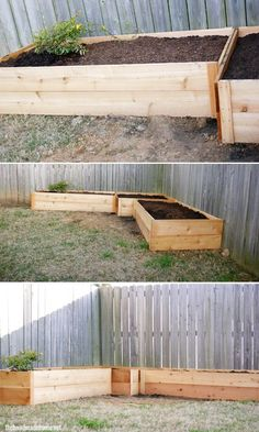 Raised flower bed boxes. I would stain the wood on these. :)