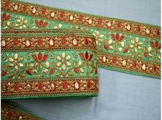 Wholesale decorative embroidered gota patti green fabric trim by 9 yard embellishment stylish ribbon sari border crafting sewing accessories boutique material and wedding wear trimmings We provid best quality in embroidery saree borders, fancy laces Embroidery Saree, Embroidery Monogram, Hand Embroidery Designs, Embroidery Patterns, Crystal Embroidery, Ribbon Embroidery, Saree Border, Indian Fabric, Fabric Suppliers