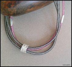 Pink triple trendy mesh tube necklace gorgeous designed door MyERA4u