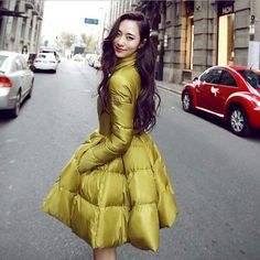 Womens Lady Bubble Skirt Dress Coats Winter Duck Down Jackets Parka Fashion Jw55