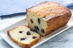 Lemon Blueberry Ricotta Pound Cake ~ Delicious fine crumb pound cake with butter, eggs, ricotta cheese, sugar, flour, lemon zest, and blueberries. ~ SimplyRecipes.com