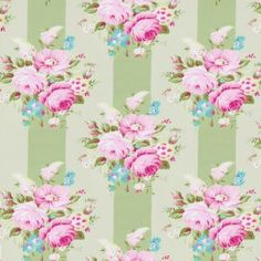 Tanya Whelan Sunshine Roses Picnic Bouquet Pink from Designed by Tanya Whelan for Free Spirit, this cotton fabric is perfect for quilting, apparel and home decor accents. Colors include blue, green, pink and white. Fabric Tree, Fabric Roses, Pink Fabric, Green Fabric, Floral Fabric, Cotton Fabric, Toddler Bed Quilt, Shabby Chic Shower Curtain, Shabby Style