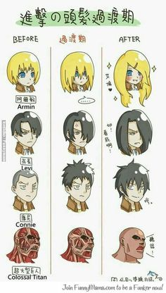 Oh my gods, Armin. XD>>>Connie will later on have hair like Eren's........