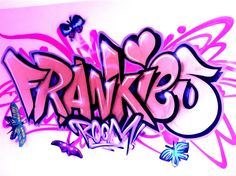 client private children / teen / Kids Bedroom Graffiti mural - hand painted Frankies pink butterfly graffiti bedroom design #graffitibedroom #interior design