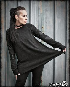 SWEATER with Stripes Long Sleeves Black Industrial Post Punk Grunge Loose