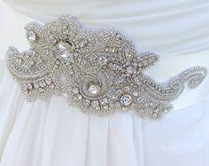 Crystal Beaded Bridal Sash-Wedding Sash In Ivory by AGoddessDivine