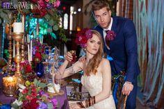 Wedding Decor | Boho Chic | Purple Florals Details | Blue Suit