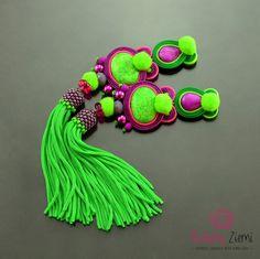 Long Green Violet Pom Pom Tassel Clip on Earrings-Boho Long Green Dangle Soutache Earrings-Long Pompoms Tassel Boho Violet Soutache Earrings  Green Earrings, Violet Earrings, Pompoms Earrings, Boho Earrings, Soutache Jewelry, Oriental, Exotic, Pom Pom Earrings, Tassel Earrings, Extravagant, Unusual, Soutache Embroidery, Dangle Earrings, Soutache Braid, Earrings, Jewelry, Earrings in Handmade, Jewelry in Handmade, Handmade Fashion, Glamour, For Her, Gift Ideas   I created these oriental…