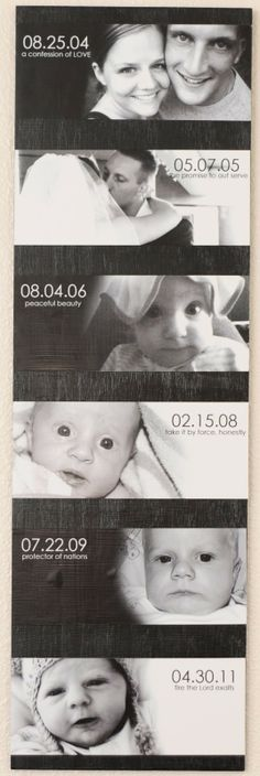 combining Most Important dates in life with photos - I love how they used the meaning of the kids' names in the pictures - Click image to find more Home Decor Pinterest pins