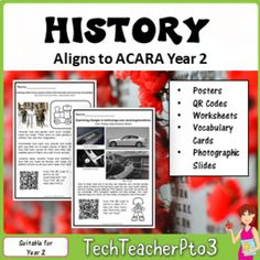 Contained in this pack is EVERYTHING you need to teach Year 2 History to meet the latest Australian Curriculum Standards (ACARA). In this pack, you will find 87 pages of activities, worksheets, QR codes, flip books photographic slides and colour posters to work through the history concepts for
