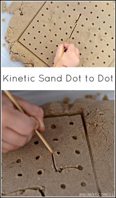 "Kinetic sand dot to dot - fine motor sensory play. Good as a ""jumping off point"" for sensory avoidant children since they don't have to touch the sand directly. Sensory Bins, Sensory Activities, Sensory Play, Preschool Activities, Summer Activities, Motor Skills Activities, Fine Motor Skills, Fine Motor Activities For Kids, Pre Writing"