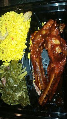 Barbecue Ribs, yellow rice, and collard Greens