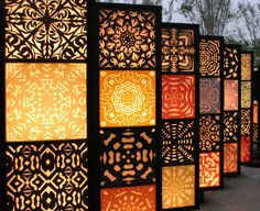 When designing your backyard, don't forget to carefully plan your lighting as well. Get great ideas for your backyard oasis here with our landscape lighting design ideas. Motif Arabesque, Room Divider Screen, Room Dividers, Screen Doors, Room Screen, Dressing Screen, Plafond Design, Decorative Screens, Backyard Lighting