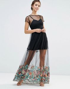 Boohoo | Boohoo Boutique Embroidered Hem Mesh Maxi Dress at ASOS